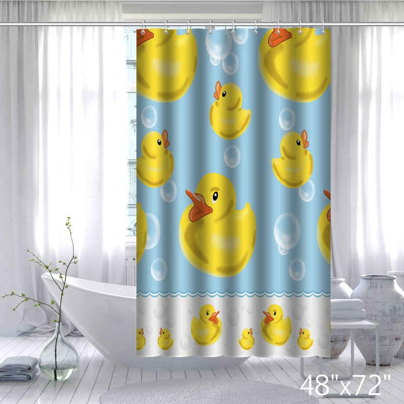 ... Funny Design Yellow Rubber Duck Shower Curtain ...