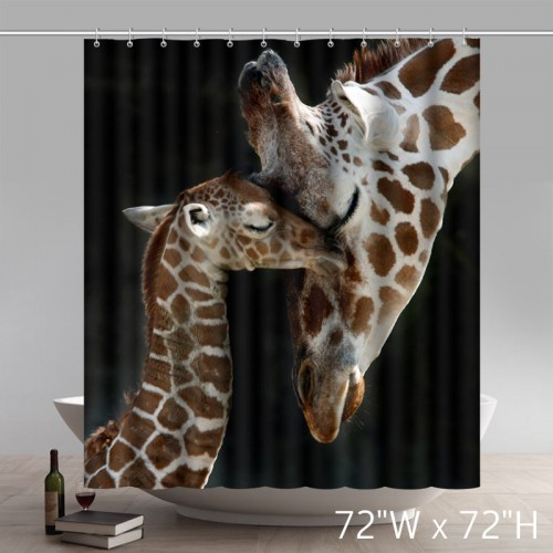 Funny Print BABY GIRAFFE and MOTHER Waterproof Kitchen Shower Curtains