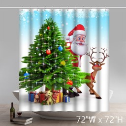 Funny Print Christmas Gift Santa Claus And Reindeer Behind Christmas Tree Shower Curtain