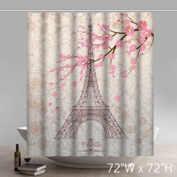 Symbol Eiffel Tower Pencil Sketch Waterproof Kitchen Shower Curtains