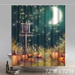Funny Print Glitter pumpkin Happy Fall Happy Thanksgiving Bathroom Shower Curtain