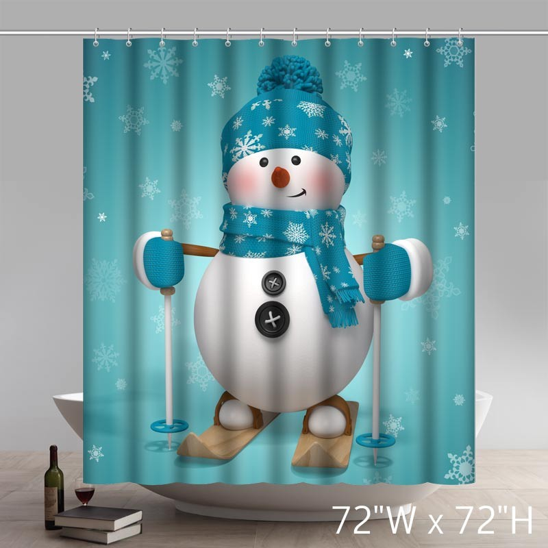 Attrayant Funny Print Christmas Gift Live Snowman Waterproof Kitchen Shower Curtain  ...