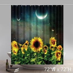 Places of Interest Symbol Sunflower Night Waterproof Kitchen Shower Curtains