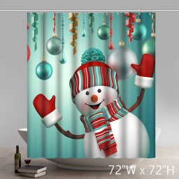 Funny Print Merry christmas Happy Snowman Waterproof Kitchen Shower Curtain