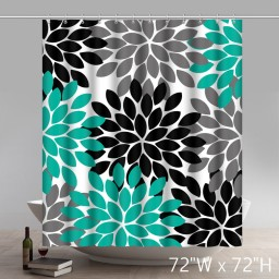 Liberty Art Pattern Blue Black Grey Bathroom Shower Curtains