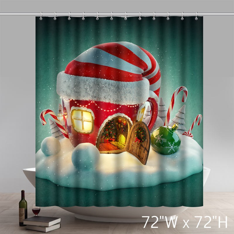 Funny Print Christmas Slogans Live Snowman Waterproof Kitchen Shower  Curtain ...