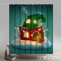 Funny Print Christmas Gift Christmas Fairy House Waterproof Kitchen Shower Curtain