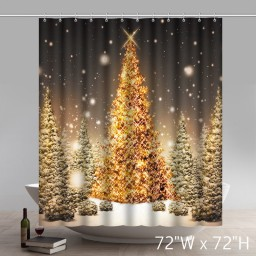 Places of Interest Christmas Gift Beautiful Outdoor Christmas Trees Waterproof Kitchen Shower Curtain