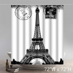 Symbol Eiffel Tower in 1909-Paris-Black and White Waterproof Kitchen Bathroom Shower Curtains