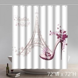 Symbol Paris Fashion Eiffel Tower Shoe Design Waterproof Kitchen Bathroom Shower Curtains