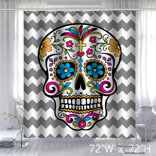 Custom Waterproof Bathroom Chevron Sugar Skull Shower Curtain