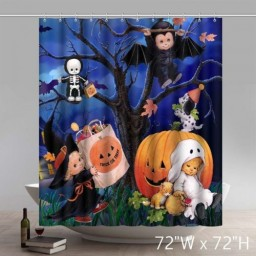 Funny Print Happy Kate Halloween Cartoon Pumpkins Design Waterproof Kitchen Bathroom Shower Curtains