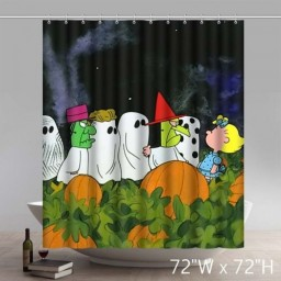 Funny Print Happy Halloween Cartoon Great Pumpkin Charlie Brown Design Waterproof Kitchen Bathroom Shower Curtains