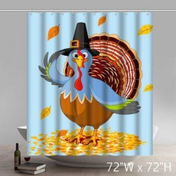 Funny Print Happy Thanksgiving Turkey Design Waterproof Kitchen Bathroom Shower Curtains