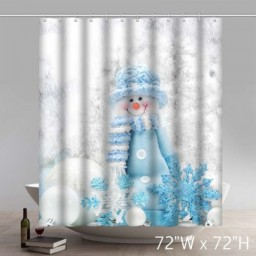 Funny Print Blue Snowman Design Waterproof Kitchen Bathroom Shower Curtains