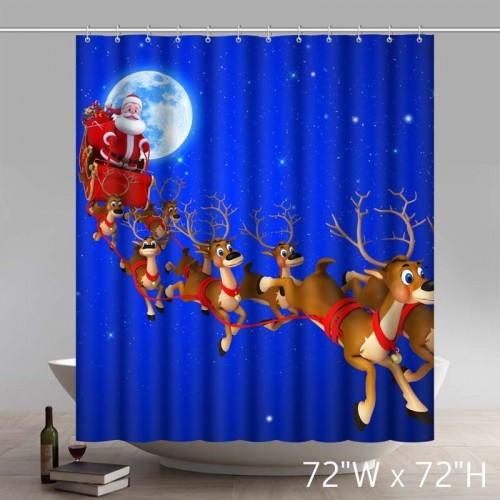 Funny Print Merry Christmas Gift Santa And His Sleigh Waterproof Kitchen Bathroom Shower Curtains