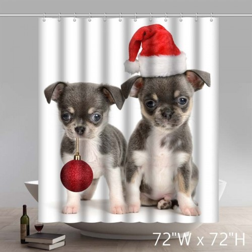 Funny Print Merry Christmas Gift Cute Baby Dogs Waterproof Kitchen Bathroom Shower Curtains