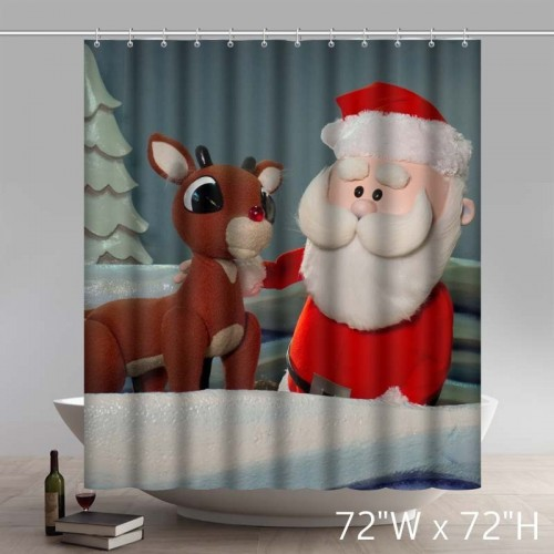 Funny Merry Christmas Rudolph the Red-Nosed Reindeer Waterproof Kitchen Bathroom Shower Curtains