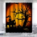 Custom Happy Halloween Night Waterproof Polyester Fabric Shower Curtain