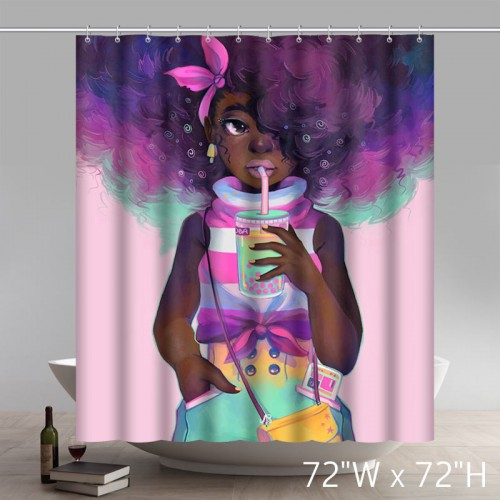 Personalized Custom Funny Deviant Art African American Black Women Painting Bath Shower Curtains
