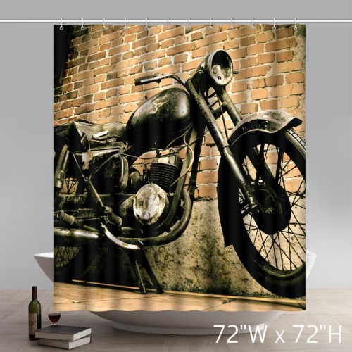 Vintage Motorcycle and House Custom Design Waterproof Shower Curtain Bathroom Curtains
