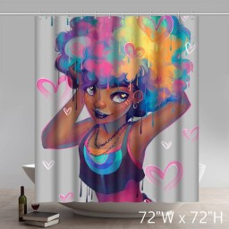 Personalized Liberty Art Peyton Black Girl Magic Waterproof Shower Curtain