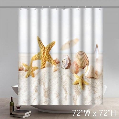 Seaside Starfish Seashell Beach Waterproof Shower Curtain
