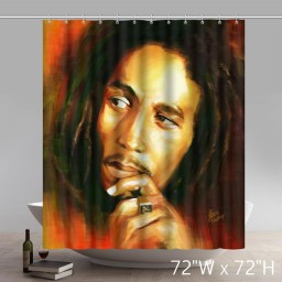 Symbol Bob Marley Bathing Shower Curtains