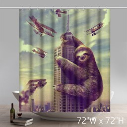 Funny Print THE KING of the SLOTHS Bathroom Shower Curtain