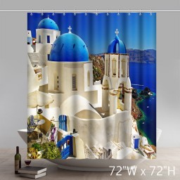 Custom Places of Interest East Mediterranean Polyester Fabric Bathroom Shower Curtain