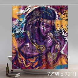 Liberty African Black Art Twin Flame Shower Curtains