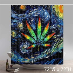 Liberty Art Marijuana Pot Leaf Art Shower Curtains Custom