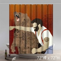 Funny Print Lumberjack Punching Bear Russian Art Shower Curtains
