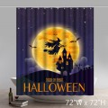 Funny Happy Halloween Witch Over The Moon Shower Curtains Custom