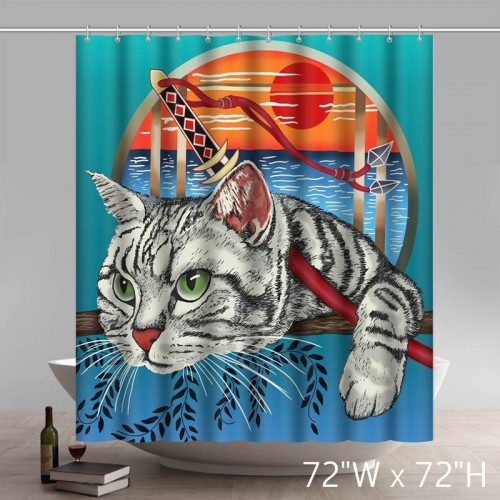 Liberty Art Kyatto Ninden Teyande Float World Draw Shower Curtains Custom