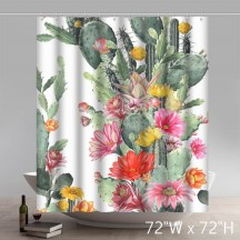 Liberty Art Desert Series Demonstration Of Orange Cactus Flowers Shower Curtains Custom