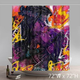 Liberty Art Black Women Art Chiamaka God Is Gorgeous HairBlack Artists Bathroom Kitchen Shower Curtains Custom