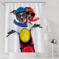 Funny Indoor Dog Riding Motorcycle Fashion Waterproof Fabric Shower Curtians 12 Hooks