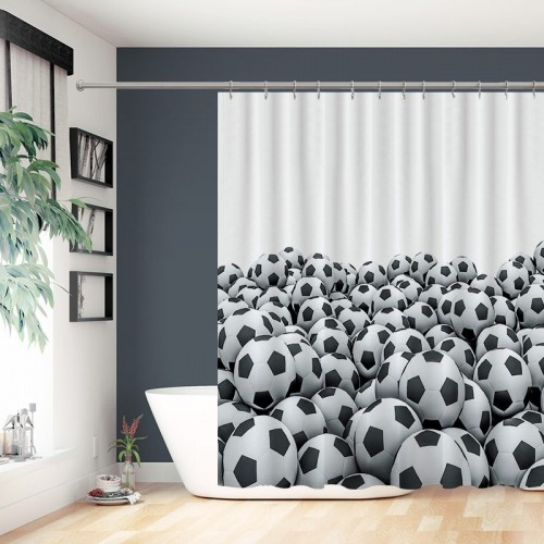 Soccer Pile Sports Football Ball on white background Waterproof Shower Curtain 12 Hooks