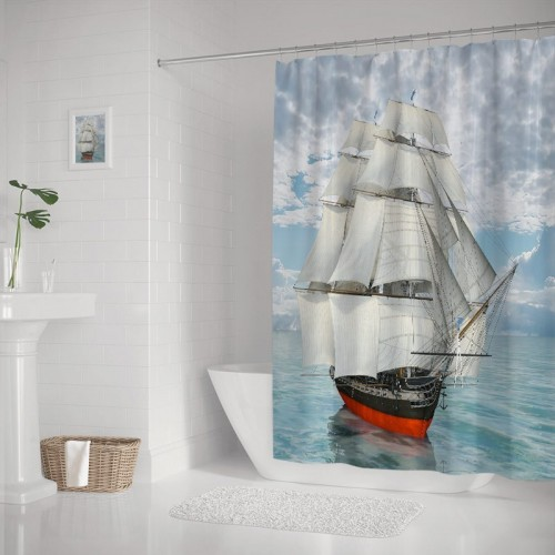 Sailing Old Merchant Ship on Ocean Sailboats Cloudy Sky Over Sea Bathroom Polyester Fabric Waterproof Shower Curtain