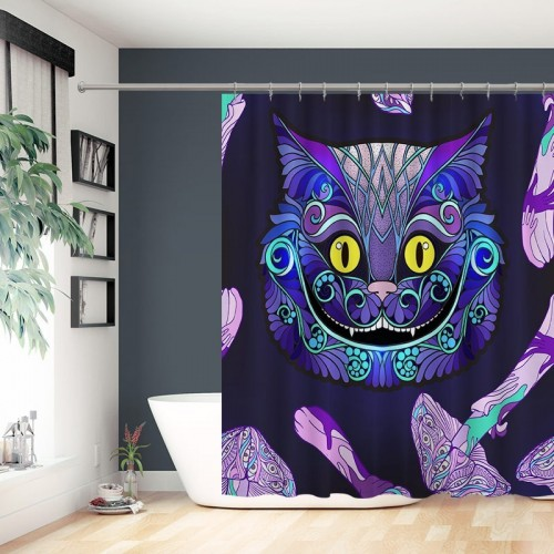 Cheshire cat head from the fairy tale Alice in Wonderland Waterproof Shower Curtain