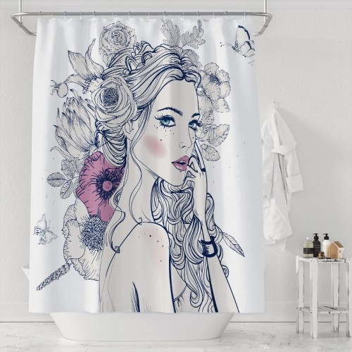 A Beautiful Woman With Flowers On Her Hair And Butterflies Pattern Shower Curtains