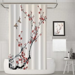 Playing Birds Cherry Blossom Print Polyester Fabric Bathroom Shower Curtain