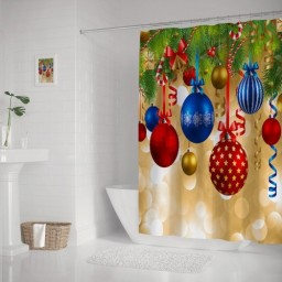 Christmas Balls Shower Curtain Set Cedar Bell Ribbon Bathroom Curtain with Hooks Holiday Decorations Waterproof Fabric