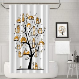 Cat Family Tree With Birds Crowd Fluffy Nature Purebred Creative Humorous Funny Art Polyester Fabric Bathroom Shower Curtain