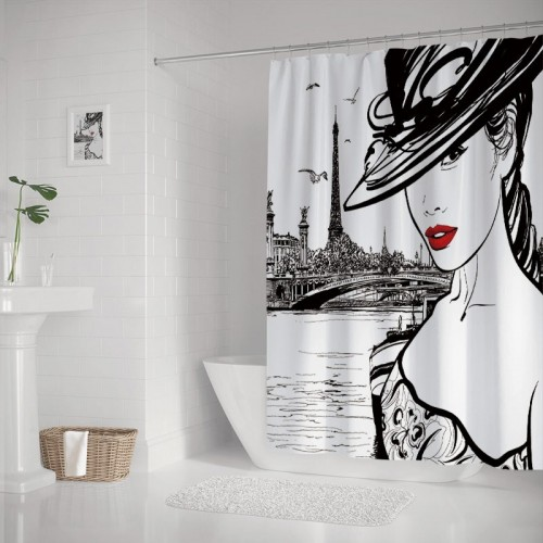 Fashion House Decor Shower Curtain Hand Drawn Girl in Makeup by Seine River in Paris European Life Image Fabric Bathroom