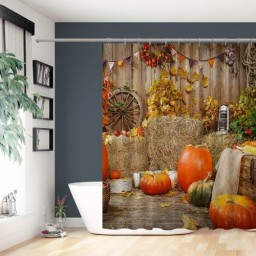 Halloween Shower Curtain Rustic Wood Wall Autumn Hay Pumpkins Shower Curtains for Bathroom Waterproof Polyester Fabric