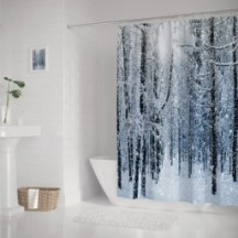 Winter Snow Covered Forest Idyllic Early Morning Scenery Seasonal Xmas Nature Shower Curtains