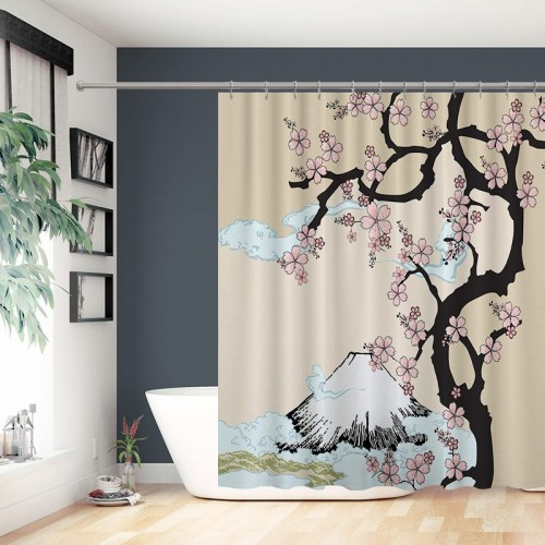 Custom Beautiful Japan Cherry Blossom Tree Print Waterproof Polyester Bathroom Fabric Shower Curtain
