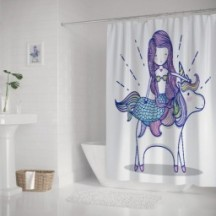 Little Mermaid With Unicorn Art Cartoon Polyester Bathroom Shower Curtain